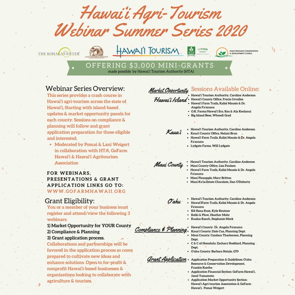 2020 Hawai'i Agri-Tourism Webinar Summer Series 2020